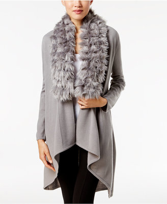 Alfani Faux-Fur-Trim Cardigan, Only at Macy's $99.50 thestylecure.com