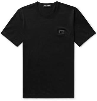 Dolce & Gabbana Logo-Appliqued Cotton-Jersey T-Shirt - Men - Black