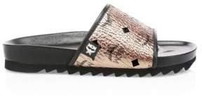 MCM Men's Logo Pool Slides - Champagne - Size 44 (11) Sandals