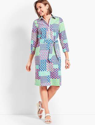 Talbots Island Patchwork Belted Shirtdress