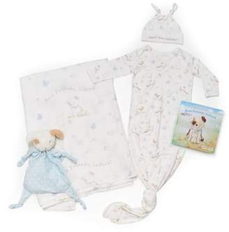 Bunnies by the Bay Welcome Sweet Baby Cap, Gown, Swaddle Blanket, Stuffed Animal & Book Set