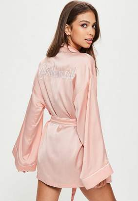 Missguided Nude Bridesmaid Dressing Gown
