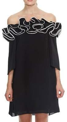Halston Off-the-Shoulder Ruffle Neck Dress
