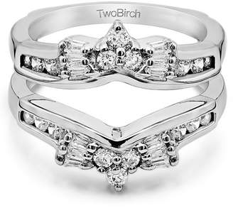 TwoBirch Cubic Zirconia Mounted In Sterling Silver Bow Style Ring Guard Enhancer (0.56ctw)