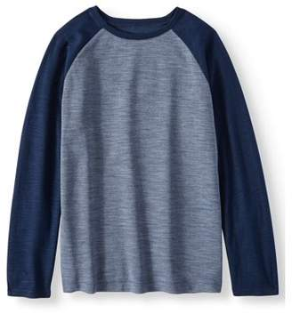 ONLINE Long Sleeve Soft Raglan Dual Layer Crew Neck Tee Shirt (Little Boys & Big Boys)