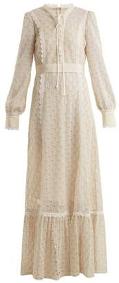 Gucci Logo Macrame Lace Trimmed Cotton Blend Gown - Womens - Ivory