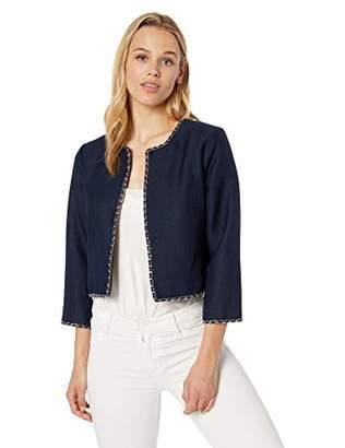 Karl Lagerfeld Paris Women's Tweed Jacket with Chain Detail