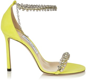 Jimmy Choo SHILOH 100 Fluorescent Yellow Suede Open Toe Sandal with Jewel Trim