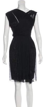 Elie Saab Plissé Lace-Accented Dress