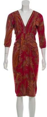 Etro Paisley V-Neck Dress Red Paisley V-Neck Dress