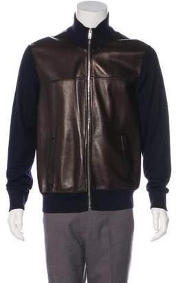 Prada Leather-Front Wool Jacket