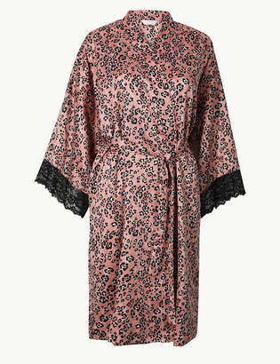 5fc3b9927f3 M S CollectionMarks and Spencer Satin Animal Print Wrap Dressing Gown
