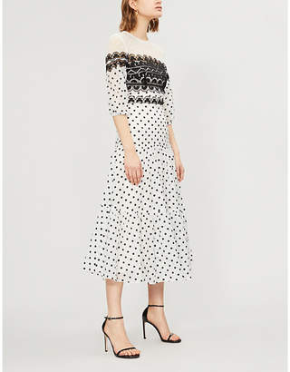 Temperley London Lace-panelled polka dot cotton-blend midi dress