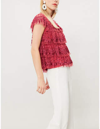 NEEDLE AND THREAD Heather floral-embroidered tulle top
