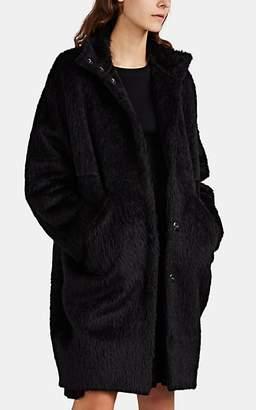 Zero Maria Cornejo Women's Shaggy Alpaca-Wool High-Collar Coat - Black