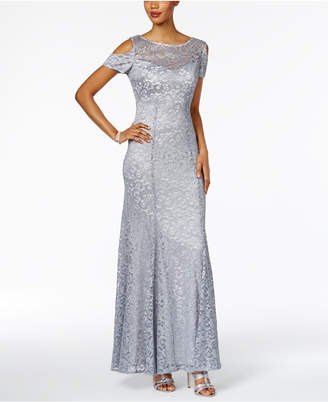 R & M Richards Glitter Lace Cold-Shoulder A-Line Gown $139 thestylecure.com