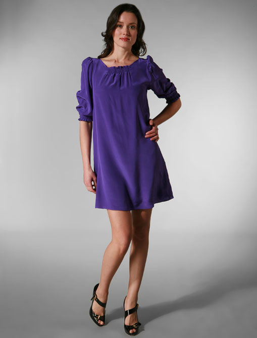 Whitley Megan Shirred Dress in Purple