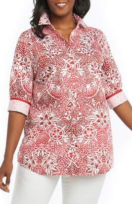 Foxcroft Faith Batik Floral Top