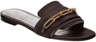Burberry Link Detail Satin & Leather Slide