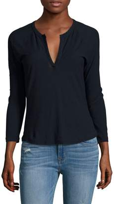 James Perse Women's Raglan Open Henley Top