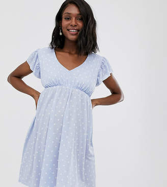 594d841f86 Asos DESIGN Maternity exclusive mini textured smock dress in spot
