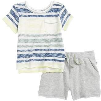 Splendid Reverse Stripe Top & Shorts Set