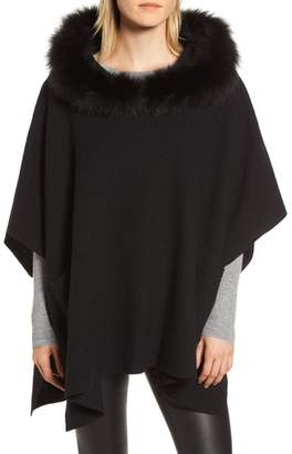 Fleurette Wool Poncho with Genuine Fox Fur Trimmed Hood