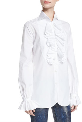 Ralph Lauren Collection Adriana Ruffled Cotton Blouse, White $1,250 thestylecure.com