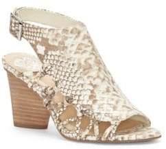 Vince Camuto Ankara Snake-Print Cutout Leather Sandals