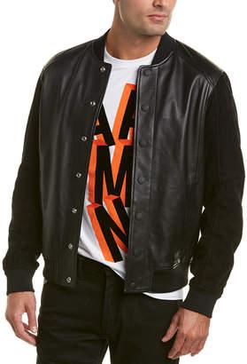 Armani Exchange Leather & Suede Bomber Jacket
