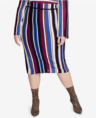 Rachel Roy Trendy Plus Size Royal Stripe Pencil Skirt