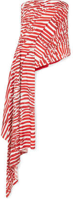 Halpern Draped Striped Faille Bustier Top - Red