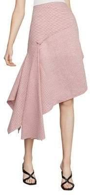 BCBGMAXAZRIA Pinstripe Asymmetric Linen Blend A-Line Skirt