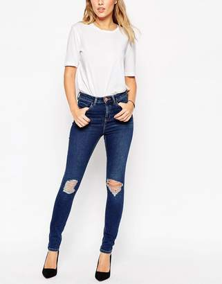 ASOS Ridley Skinny Jeans In Brasswood Dark Stone Wash Blue With Rips $49 thestylecure.com