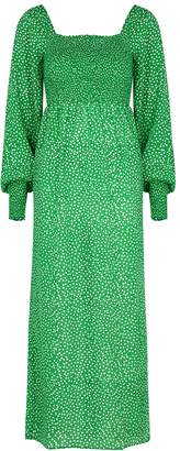 Rixo Marie Green Floral-print Satin Dress