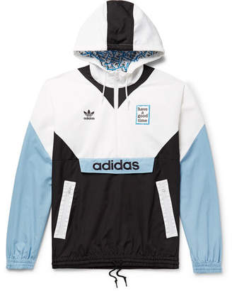 Have A Good Time adidas Consortium + Logo-Embroidered Colour-Block Nylon Hooded Jacket