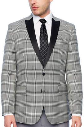 Jf J.Ferrar Tartan Black and White Classic Fit Sport Coat