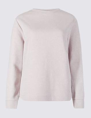 M&S Collection Cotton Rich Sparkly Long Sleeve Sweatshirt