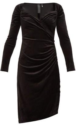 Norma Kamali Sweetheart Neckline Velvet Dress - Womens - Black