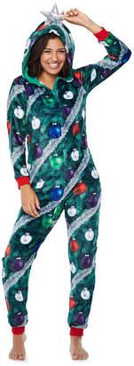 PEACE LOVE AND DREAMS Peace Love And Dreams Womens Juniors Onesie Pajama  Long Sleeve Hooded Neck 5165734b3