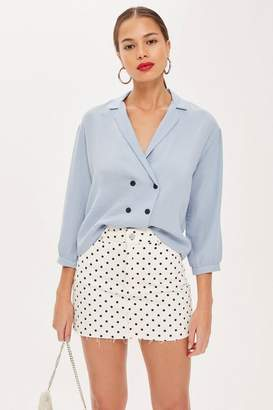 Topshop Button Down Wrap Blouse