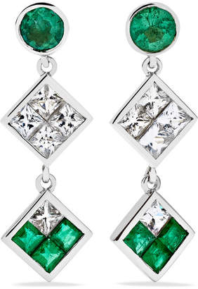 Ileana Makri Double Dangling 18-karat White Gold, Emerald And Sapphire Earrings