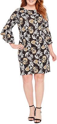 Tiana B 3/4 Sleeve Floral Shift Dress-Plus