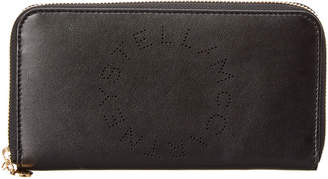 Stella McCartney Perforated Logo Zip Around Leather Wallet