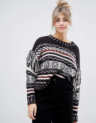 Pull&Bear patterned and striped sweater with fringe