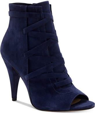 Vince Camuto Aranda Lace-Up Peep-Toe Dress Booties Women's Shoes