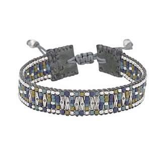Chan Luu Beaded Adjustable Cuff Bracelet in Blue Mix