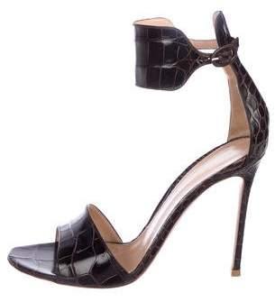Gianvito Rossi Alligator Ankle-Strap Sandals