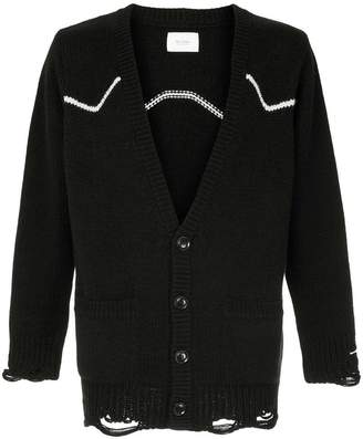 The Letters destroyed knitted cardigan