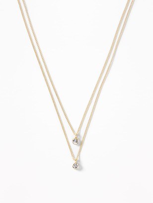 Old Navy Double Crystal-Stone Pendant Necklace For Women